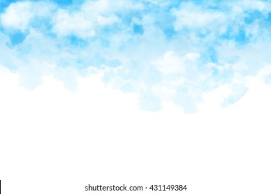 The White Cloud and Blue Sky. Watercolor Style Artwork Background