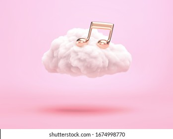 White cloud with gold music note on  pink background. Cloud music concept. 3D rendering