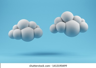 White cloud on a blue background. Minimalistic pastel image. 3d rendering