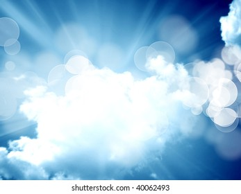white clouds in a clear blue sky