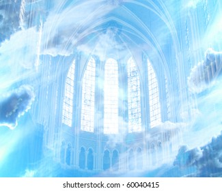 white clouds and inside of a cathedral as a representation for heaven