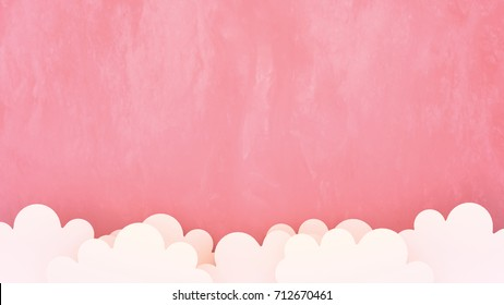 White clouds paper crafts on pink background. 3d rendering picture.