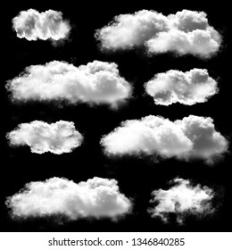 White clouds shapes isolated over black background, 3D rendering design cloud elements high resolution illustration