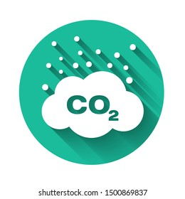White CO2 emissions in cloud icon isolated with long shadow. Carbon dioxide formula symbol, smog pollution concept, environment concept. Green circle button