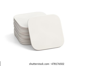 White coasters. Isolated on white background.  3d render