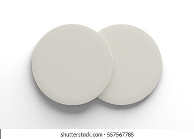 White coasters. Isolated on white background. Include clipping path. 3d render