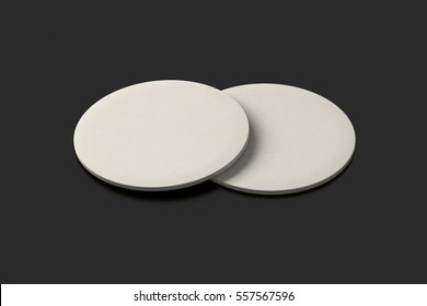 White coasters. Isolated on black background. Include clipping path. 3d render