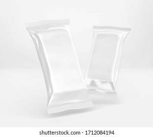 White Cocolate Bar Packaging Mockup, Blank Plastic Candy Container, 3D Rendering isolated on light background