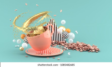 White coffee cup with splash golden coffee on green background, 3d rendering