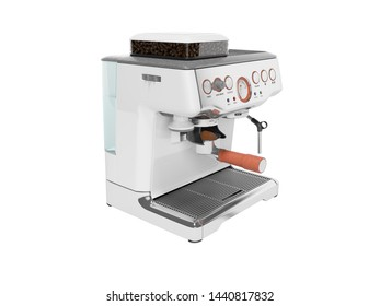 White coffee machine with capacity for coffee and water tank 3d render on white background no shadow
