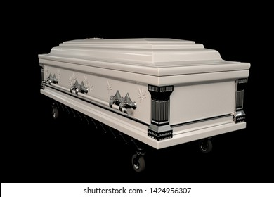 white coffin isolated on black background 3d illustration