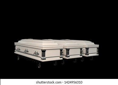 white coffins isolated on black background 3d illustration