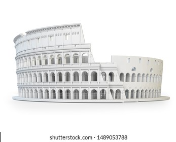 White Coliseum Colosseum isolated on white background. Symbol of Rome and Italy. 3d illustration