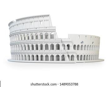 Coliseo blanco Coliseo aislado sobre fondo blanco. Símbolo de Roma e Italia. Ilustración 3d