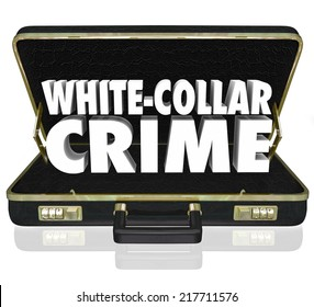 White Collar Crime words in white 3d letters in a black leather briefcase to illustrate professional criminal activities such as embezzlement, fraud and identity theft