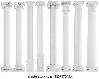 White columns on a white background. Isolated. 3D illustration