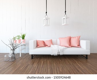White comfortable living room interior with sofa, decor on the wooden floor and large wall and white landscape in window. Home nordic interior. 3D illustration