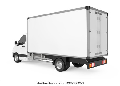 White Commercial Industrial Cargo Delivery Van Truck on a white background. 3d Rendering