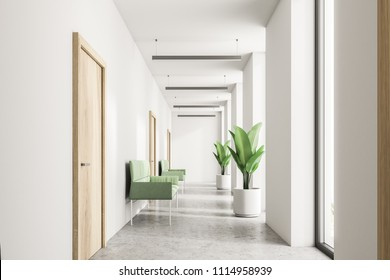 White company clinic lobby with tall windows, a concrete floor and a lobby with wooden doors. Green armchairs and potted plants. Waiting area concept. 3d rendering