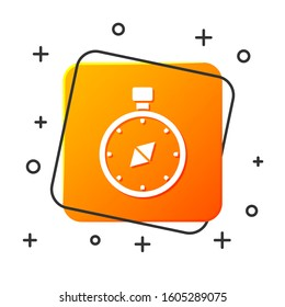 White Compass icon isolated on white background. Windrose navigation symbol. Wind rose sign. Orange square button.