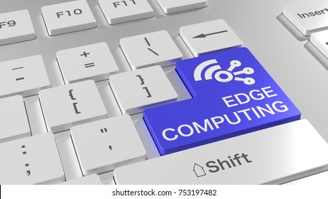 White computer keyboard with a blue enter key showing edge computing and a wireless network icon 3D illustration