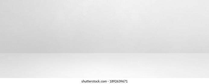 White concrete interior background banner. Empty template scene