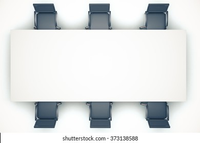 White conference table with chairs, mock up 3D Render