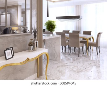 White console table with gold legs from interior walls with a mirror. Console with decor for the interior. 3D render.