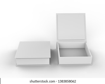 White contact business cards in the open and closed white cardboard box mock up template, 3d illustration.