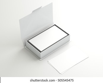 White contact business cards in the open white cardboard box. Clean mockup template with free copy space for design or advertising. On light effect white background. 3d illustration
