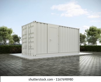 White Container House 3D render.