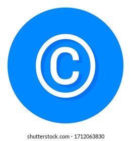 White copyright symbol in a blue circle
