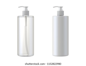 White cosmetic bottles isolated on white background, 3D rendering