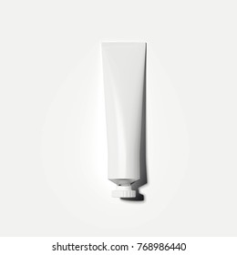 White cosmetic tube isolated on bright background. 3d rendering