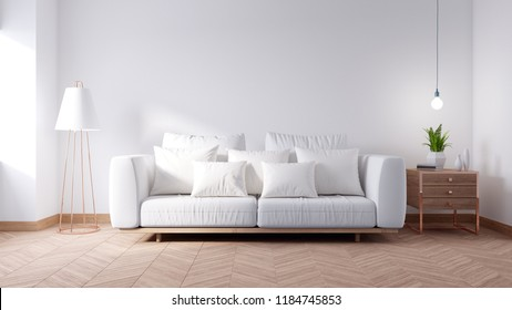 White couch on modern living room interior ,white wall and Hardwood Flooring,3d render