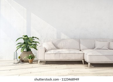 White couch and potted plant in a cozy living room interior. 3d Rendering
