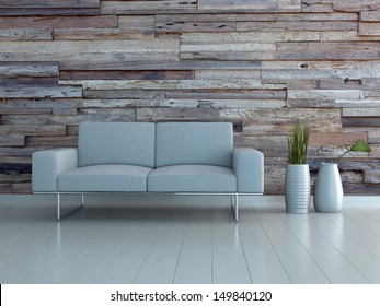 White couch with two vases against wooden wall