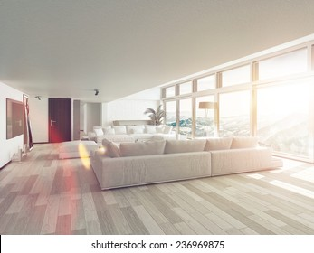 White Couches in Modern Living Room in Front Glass Windows, Inside Architectural Residence, Illuminated by Sunlight. 3D Rendering.
