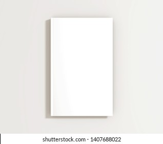 White cover book mockup on white background, realistic 3d illustration. Textbook booklet document, top view.