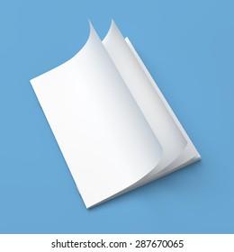 White cover empty magazine blank on blue background