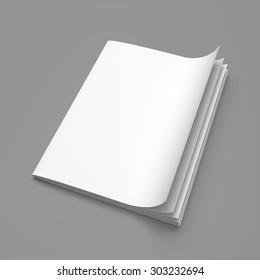 White cover empty magazine blank on grey background