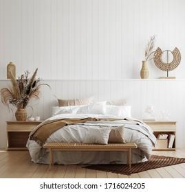 White cozy coastal bedroom interior, 3d render