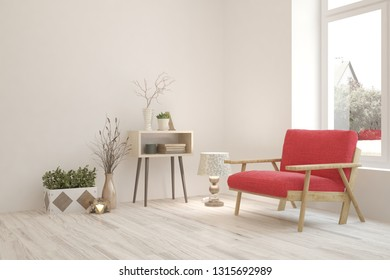 White cozy minimalist room with armchair. Scandinavian interior design. 3D illustration