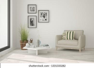 White cozy minimalist room with armchair. Scandinavian interior design. 3D illustration