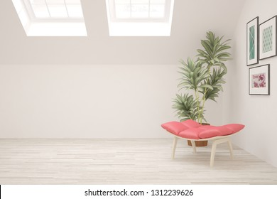 White cozy minimalist room with coral armchair. Scandinavian interior design. 3D illustration