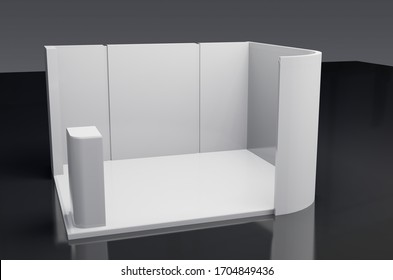 White creative exhibition stand mock-up design. Booth template. 3D illustration