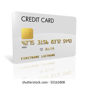 White credit card isolated on white with clipping path