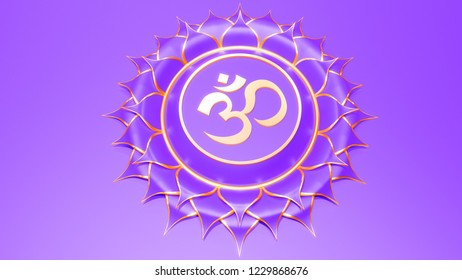 White Crown chakra Sahasrara symbol concept of Hinduism, Buddhism, Ayurveda. spiritual awakening and higher consciousness. 3d rendering