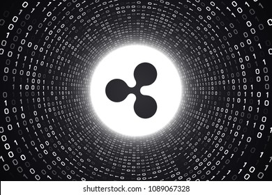 """White crypto currency logo """"RIPPLE"""" inside white binary tunnel on black background. 3d illustration."""