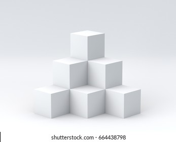 White cube boxes on white background for display. 3D rendering.